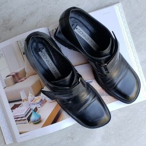 Donald J Pliner Black Wedge Loafer Shooties 9N